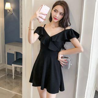 Image of Ruffled Cold-Shoulder Short-Sleeve Mini A-Line Dress