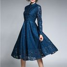 Lace Panel Long-Sleeve Dress 1596