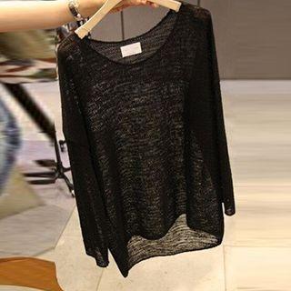 Long Sleeve Sheer Knit Top 1052833101