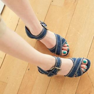 Buy pinkdiamond Denim Wedge Sandals 1022928822
