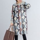 Long-Sleeve Floral Sweater Dress 1596