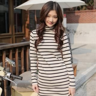 Picture of CLICK Long Striped Turtleneck Top 1021706110 (CLICK Dresses, Womens Dresses, South Korea Dresses, Turtleneck Dresses)