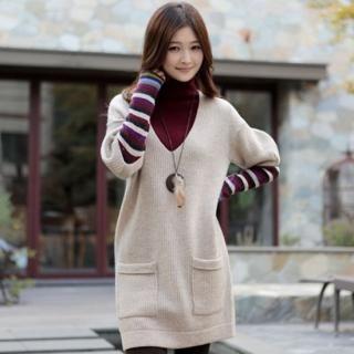 Buy CLICK V-Neck Ribbed Sweater Dress 1021605305