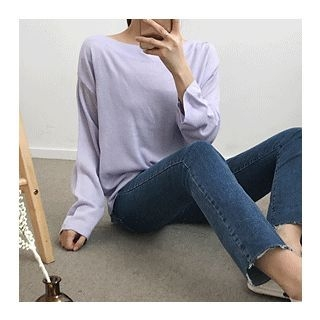 Boat-Neck Knit Top 1058340981