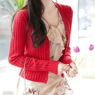 V-Neck Ribbed Cardigan 1065625344