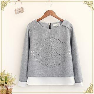 Mock Two-piece Perforated Sweatshirt 1053556067