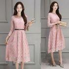 3/4-Sleeve A-Line Midi Lace Dress 1596