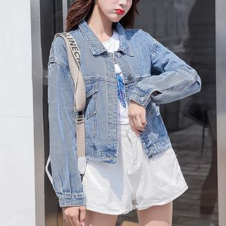 Image of Embroidered Lace Up Denim Jacket