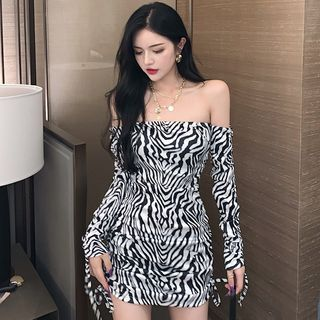 Off-shoulder Zebra Print Mini Sheath Dress