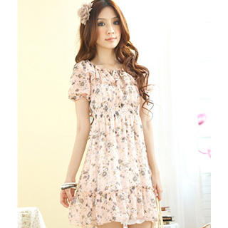 Buy Tokyo Fashion Puff-Sleeve Smocked Floral Chiffon Dress 1022797683
