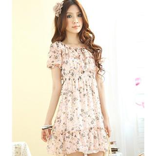 Buy Tokyo Fashion Puff-Sleeve Smocked Floral Chiffon Dress 1022797683