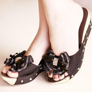 "Buy Kvoll Rhinestone ""Bow"" Polka Dot Wedges 1022747344"