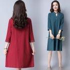 Split-neck 3/4-Sleeve Dress 1596