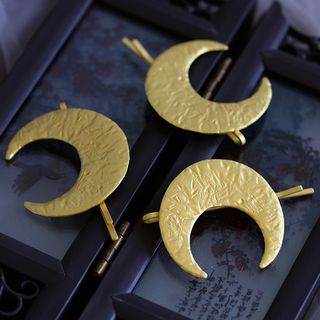 Image of Alloy Moon Hair Pin Set of 3 - Gold - One Size