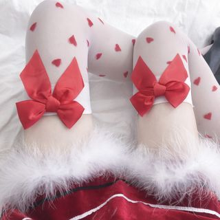 Image of Bow Accent Heart Printed Over The Knee Socks