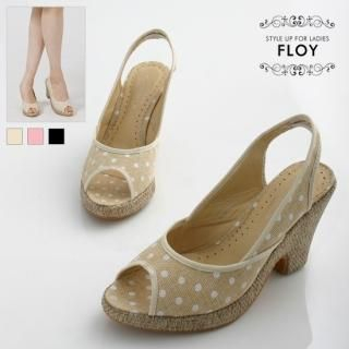 Buy FLOY SHOES Canvas Dotted Slingbacks 1023054493