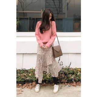 Asymmetric Ruffled Floral Chiffon Long Skirt 1064450003