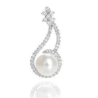 18K White Gold Pendant with Diamonds and Pearl