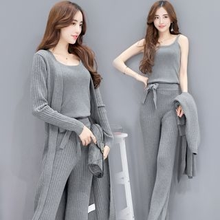 Set: Long Cardigan + Camisole + Wide Leg Pants 1057717251