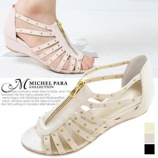 Picture of MICHEL PARA COLLECTION Zip-Front Studded Sandals 1022725187 (Sandals, MICHEL PARA COLLECTION Shoes, Korea Shoes, Womens Shoes, Womens Sandals)