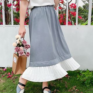 Image of Color Block Midi A-Line Skirt