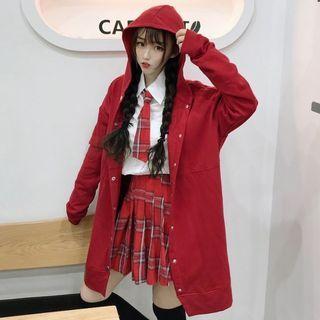 Image of Shirt / Plaid Tie / Pleated Mini Skirt / Hooded Jacket / Set