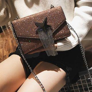 Fringed Glittered Crossbody Bag