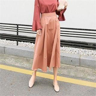 Band-Waist Long A-Line Skirt 1062233968