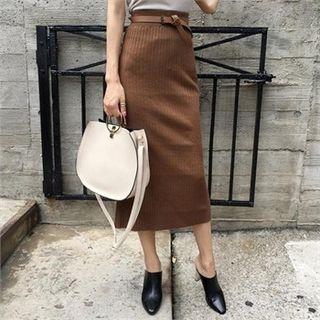 Slit-Black Ribbed Skirt 1053022989