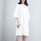 Elbow-Sleeved Zipper T-Shirt Dress 1596