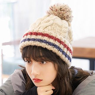 Image of Bobble Striped Knit Beanie