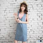 Sleeveless V-Neck Denim Dress 1596