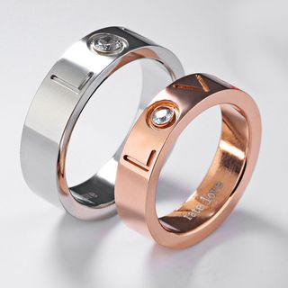 Image of Couple Letter Engraved Ring