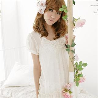 Buy LOYER.mod Crochet Chiffon Top Cream – One Size 1022793442