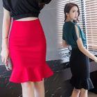Ruffle Hem Pencil Skirt 1596