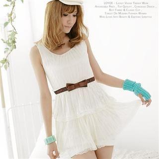 Buy LOYER.mod Lace Layered Sundress with Belt Cream – One Size 1022793477
