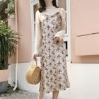 Knit Pullover / Floral Strappy Midi Dress 1596