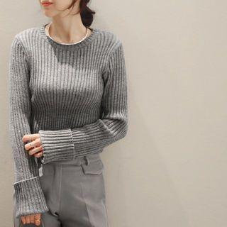 Long-Sleeve Ribbed Sweater 1056999109