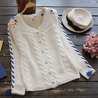 Ribbed Embroidered Cardigan 1045432214
