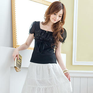 Buy Tokyo Fashion Puff-Sleeve Rhinestone Ruched Top 1023062781