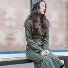 Set: Plaid Long-Sleeve Dress + Long-Sleeve Top 1596