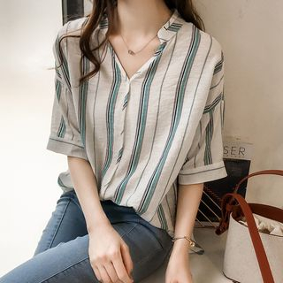 Puntino Elbow-Sleeve Striped Blouse