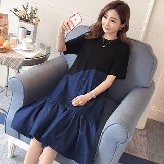 Image of Maternity Short-Sleeve Denim Panel Midi Dress