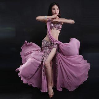 Belly Dance Set: Sequined Bra + Godet Skirt 1062395868