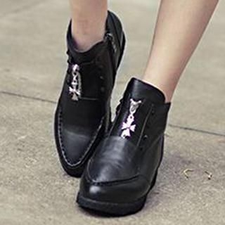 Genuine Leather Hidden Wedge Ankle Boots