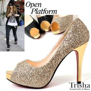 Buy Trisha Open-Toe Metallic Platform Pumps 1022486748