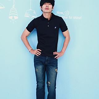 Buy moscod Set: Short-Sleeve Polo Shirt + Distressed Boot-Cut Jeans 1022809906