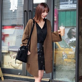 Collarless Open-Front Long Cardigan 1054073836