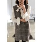 Sleeveless Flounced Plaid Wool Blend Mini Dress 1596
