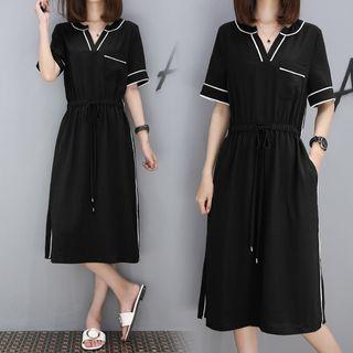 V-neck Short-Sleeve Dress 1061263003